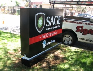 Internally Illuminated Monument Sign - Sage Veterinary