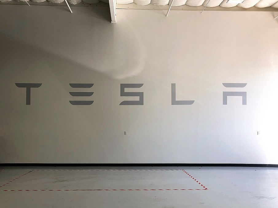 Tesla Wall Graphics Made by Signs Unlimited in San Jose, CA
