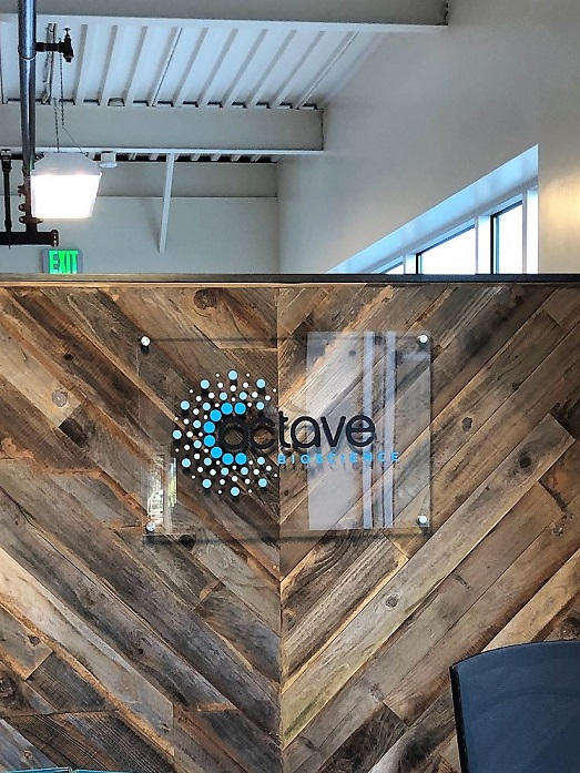 Glass Lobby Signs for Octave Made in San Jose, CA